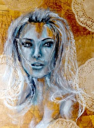 Vintage Portrait - Oil on Mixed media canvas
