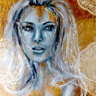Vintage Portrait - Oil on Mixed media canvas
