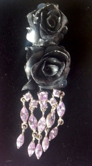 Frosted Rose and Swarovski Navel Bar