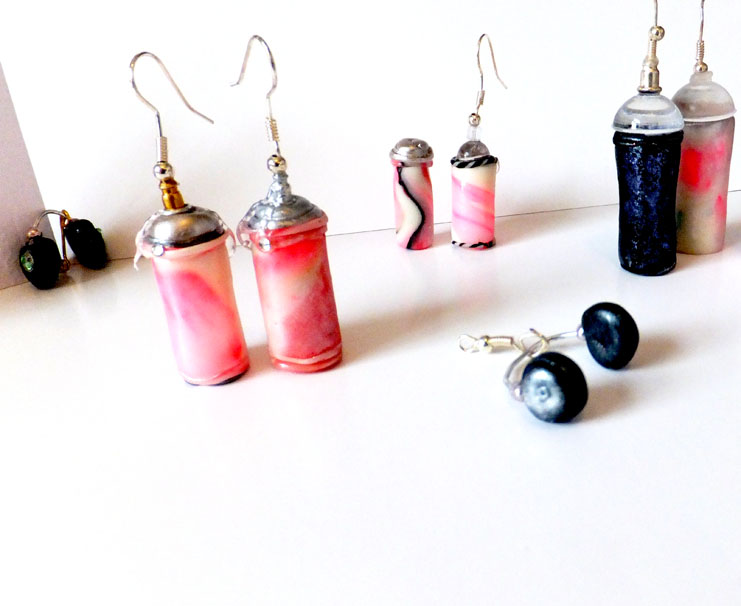 Spray Can and Headphone Pendants And Earrings
