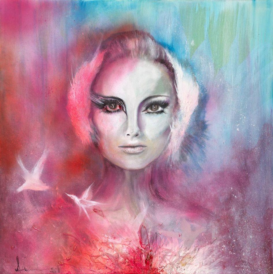 Annika - 3d Nina Black Swan on Canvas