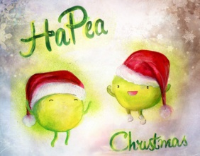 """Hapea Christmas"" Ink and Gouache"
