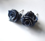 Blue Ice Rose Studs