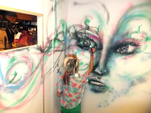 Dressing room painting at rote one skate shop